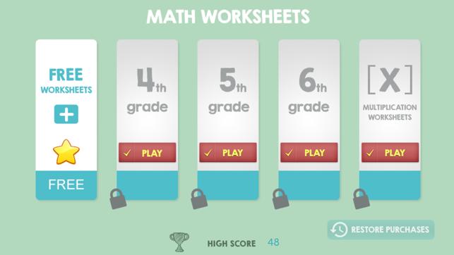 Hojas de trabajo de Matemáticas 4to 5to 6to Grado en App Store