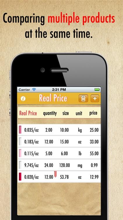Real Price Lite ~ compare unit prices