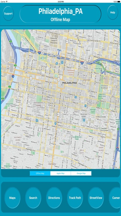 Philadelphia PA USA Offline City Maps Navigation