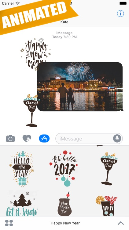 Animated Happy New Year Greetings for iMessage by TecsoftApps
