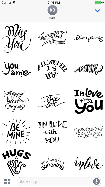 Love Typography Stickers for iMessage