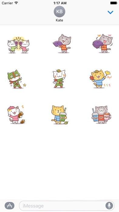 Cute Cat In Autumn Sticker screenshot 3