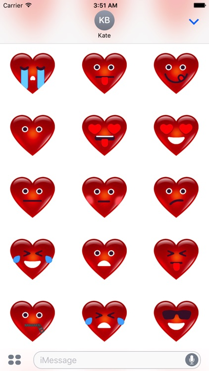 3D Heart Face Happy San Valentine's Day Stickers screenshot-1