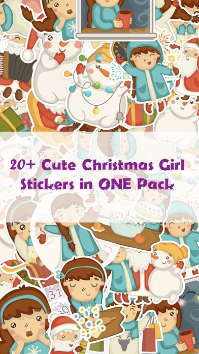 Cute Christmas Girl Stickers Pack for iMessage screenshot one