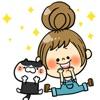 女の子と猫のステッカー