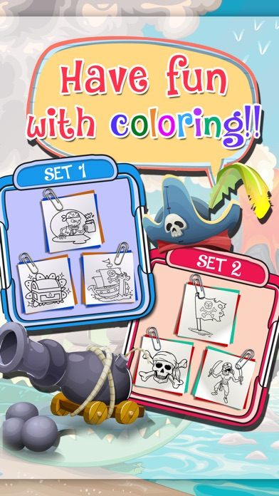 Screenshot of Learning & Painting Pirates on Coloring Book Pro App