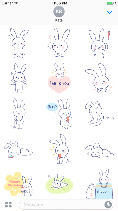 Zinnia The Lovely Rabbit English Stickers screenshot two