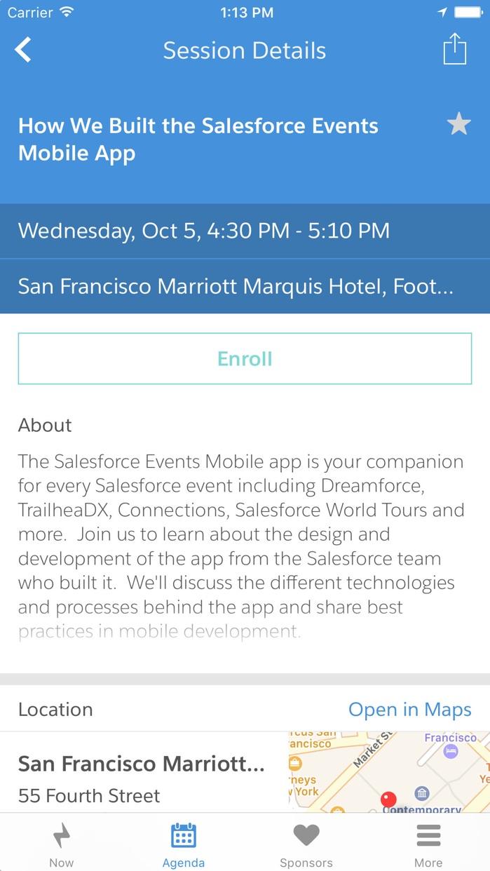 Salesforce Events Screenshot