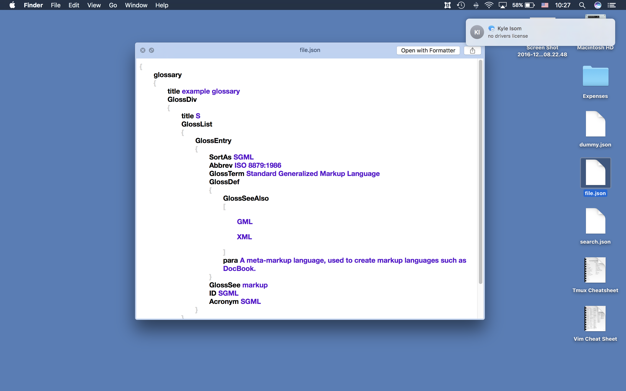 Formatter: JSON for Xcode app screenshot