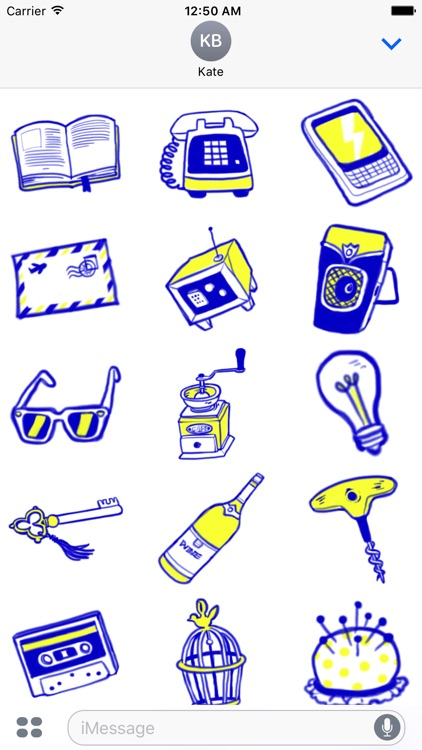 Vintage Style - Blue & Yellow Doodle Stickers