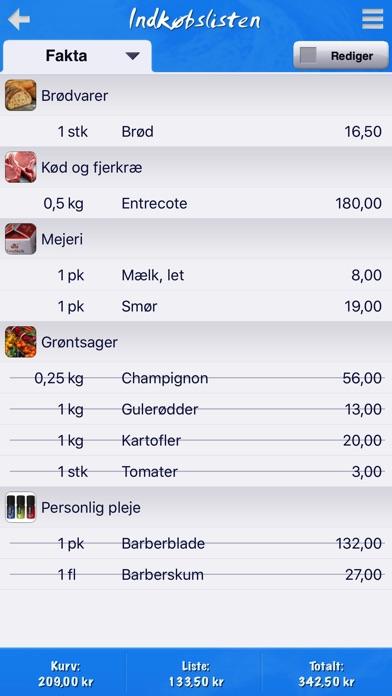 Screenshot for Indkøbslisten in Denmark App Store
