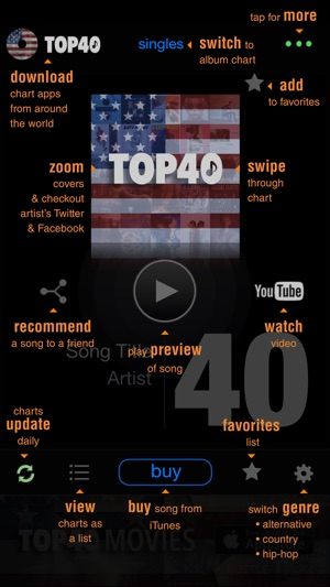 TOP40 US music charts - pop, hip-hop, country on the App Store