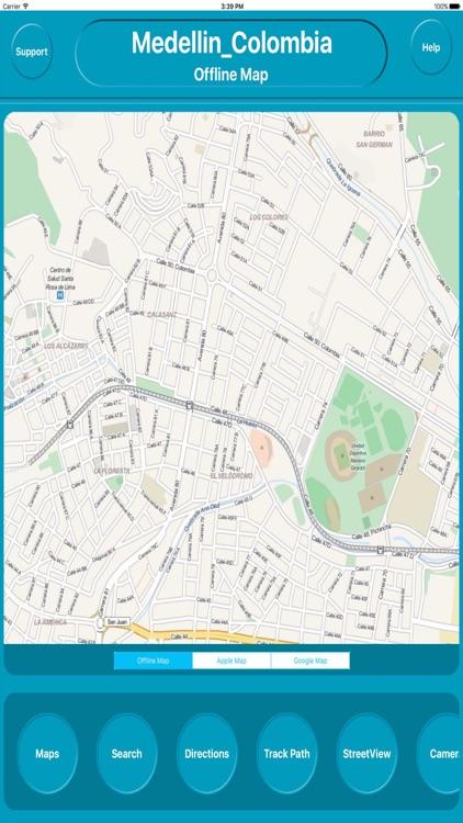 Medellin Colombia Offline City Map Navigation