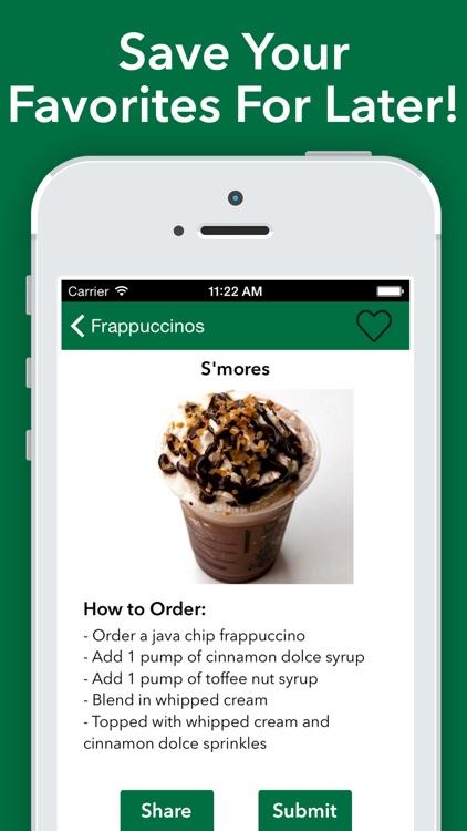 Secret Menu for Starbucks - Coffee Tea Recipes