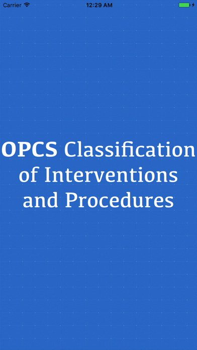 OPCS Classification of Interventions and Procedure screenshot one