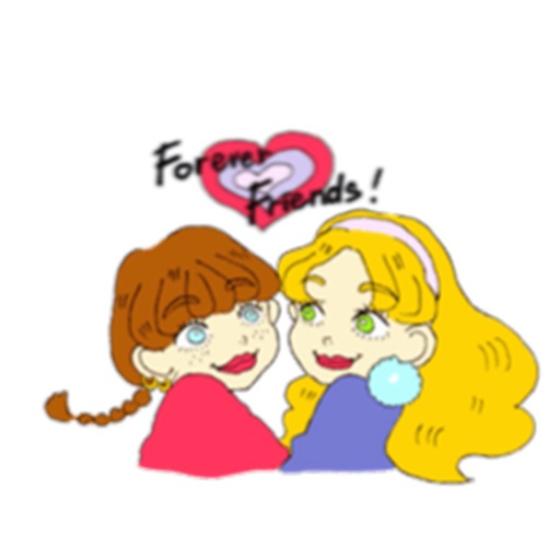 Two Adorable Teenage Girls Stickers icon