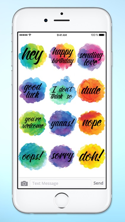 Watercolor Messages and Text Sticker Pack