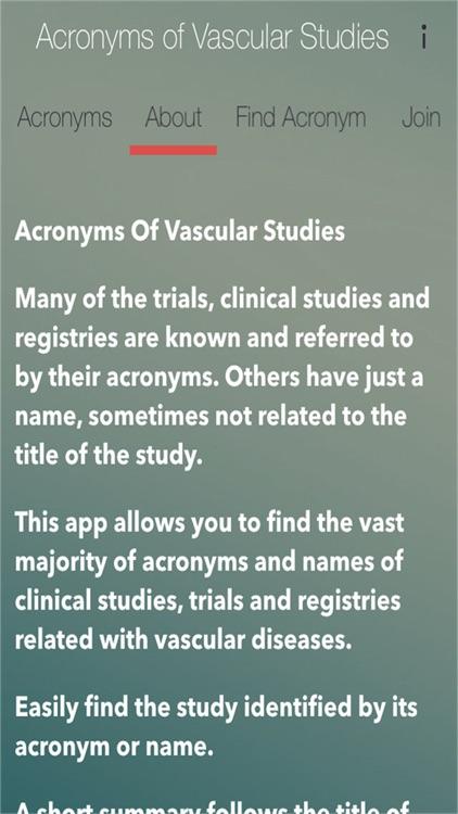 Acronyms of Vascular Studies