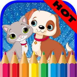 Cat and Dog Coloring Pages - Drawing Game for Kids