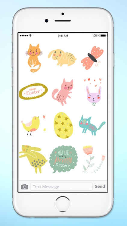 Spring and Easter Cats and Bunnies Sticker Pack screenshot-3