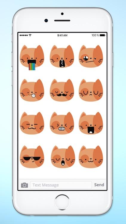 Orange Kitty Cat Face Emojis Sticker Pack screenshot-4