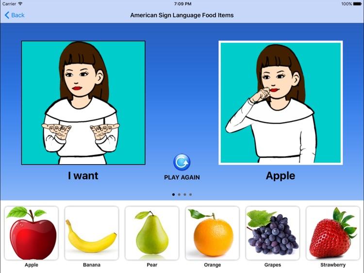 American Sign Language Food Items