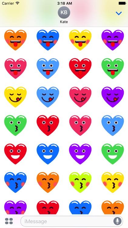 Heart Face Love Multicolor Emojis Stickers