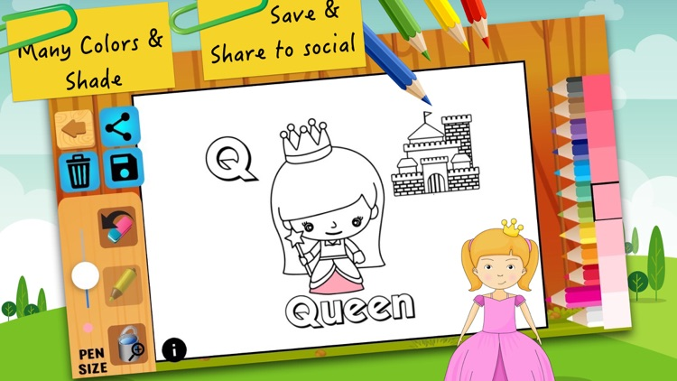 ABC coloring pages painting for kids learning screenshot-3
