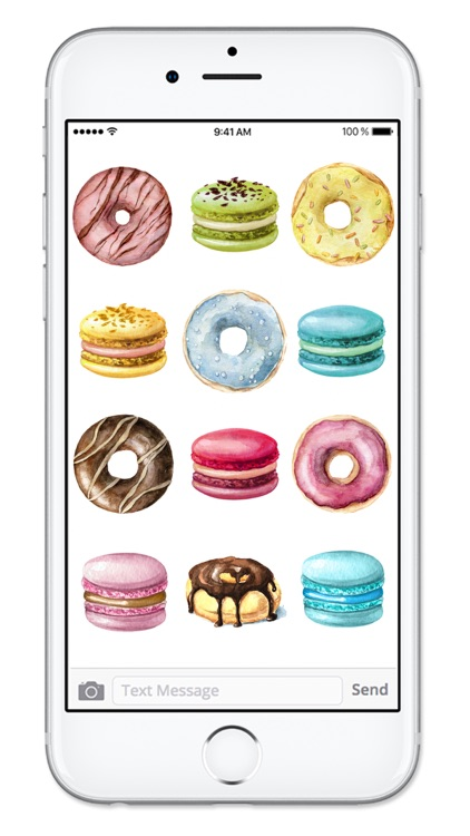 Donuts and Macaroons Watercolor Dessert Stickers screenshot-4