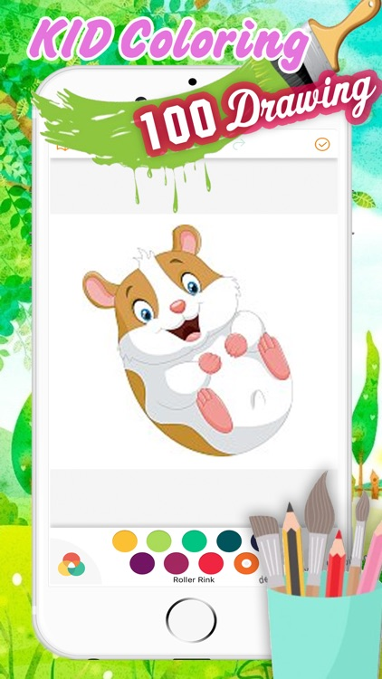 Cute Hamster Coloring Book Drawing For Kid