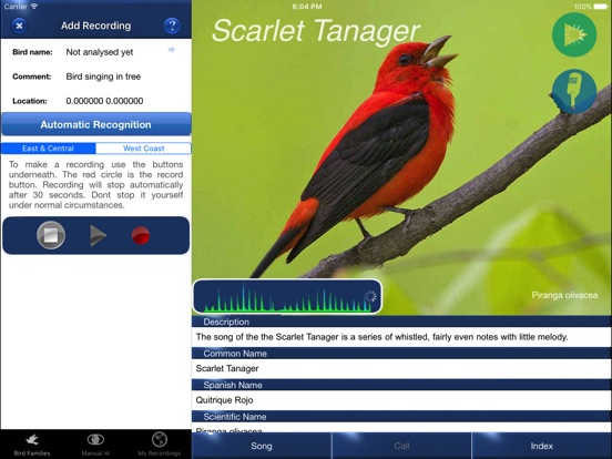 Bird Song Id USA Automatic Recognition Birds Songs-ipad-2