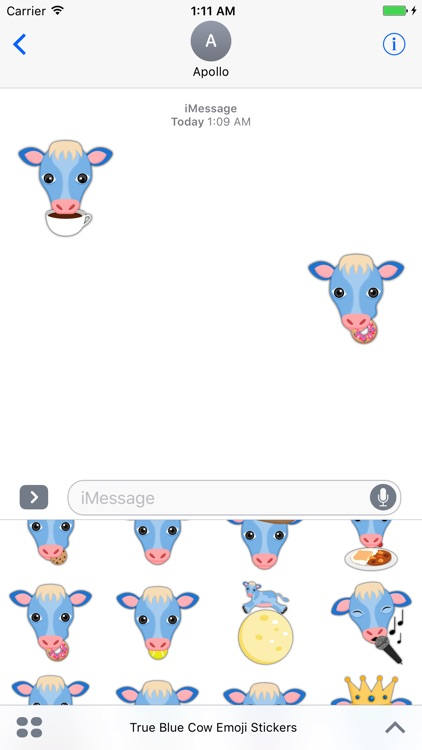 True Blue Cow Emoji Stickers screenshot-3