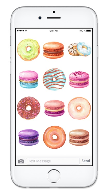 Donuts and Macaroons Watercolor Dessert Stickers screenshot-3