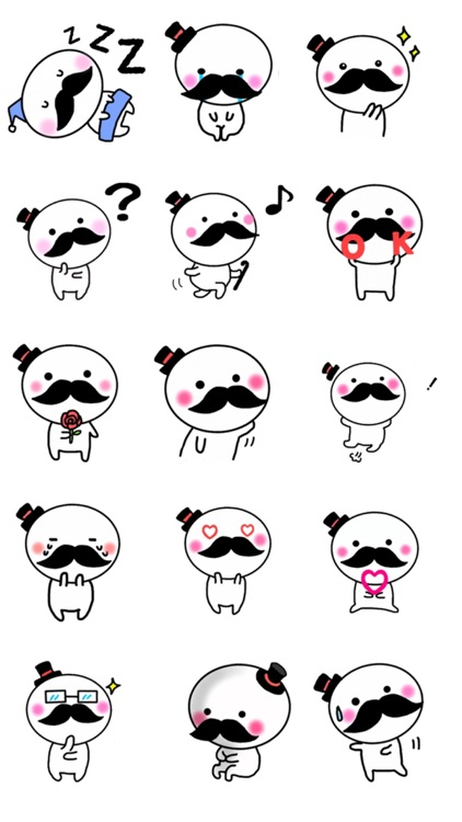 Mustachioed Smiling Gentleman - New Sticker Pack!! app image