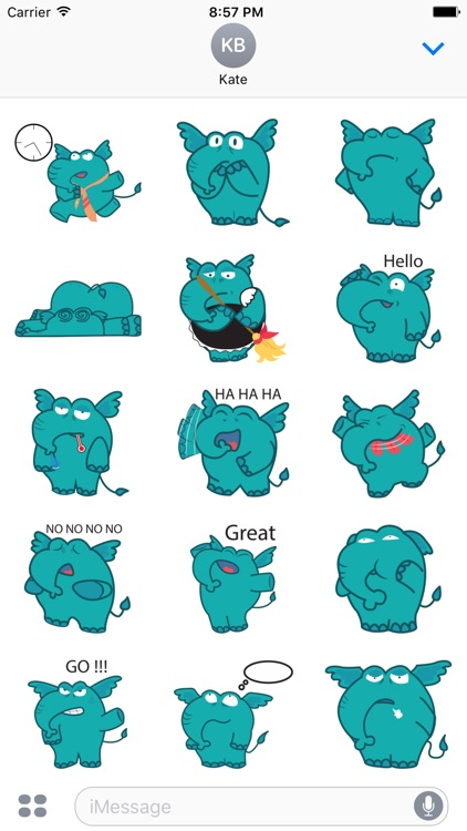 Manny the Cute Elephan Stickers for iMessage