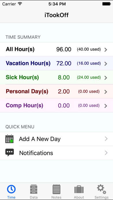 Itookoff Paid Leave Tracker review screenshots