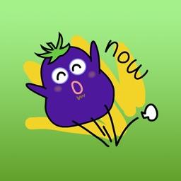 Happy Eggplant Stickers