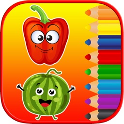 Kids Coloring Pages Tracing - Fruit Vegetable Game