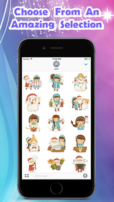 Cute Christmas Girl Stickers Pack for iMessage screenshot two