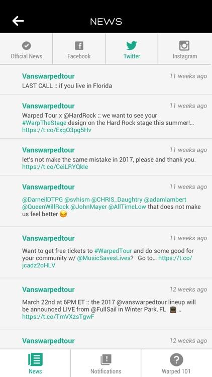 Vans Warped Tour Official App