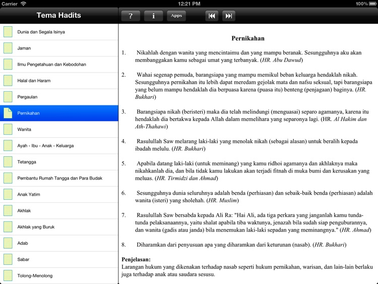 Paket Hadits for iPad screenshot-1