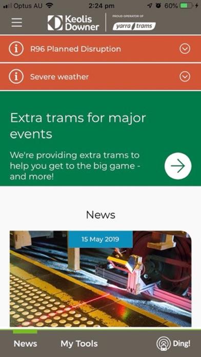 Screenshot of Ding! Yarra Trams App