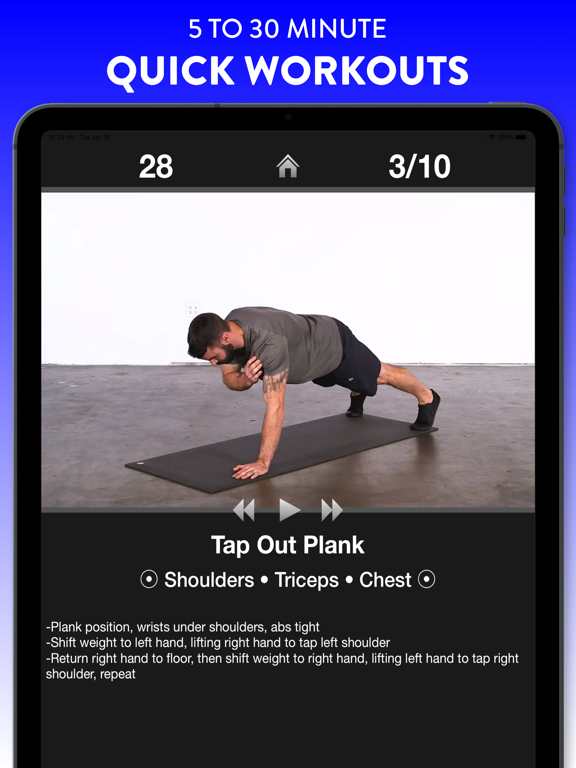 Daily Workouts FREE - Personal Trainer App for a Quick Home Workout and Exercise Fitness Routines screenshot