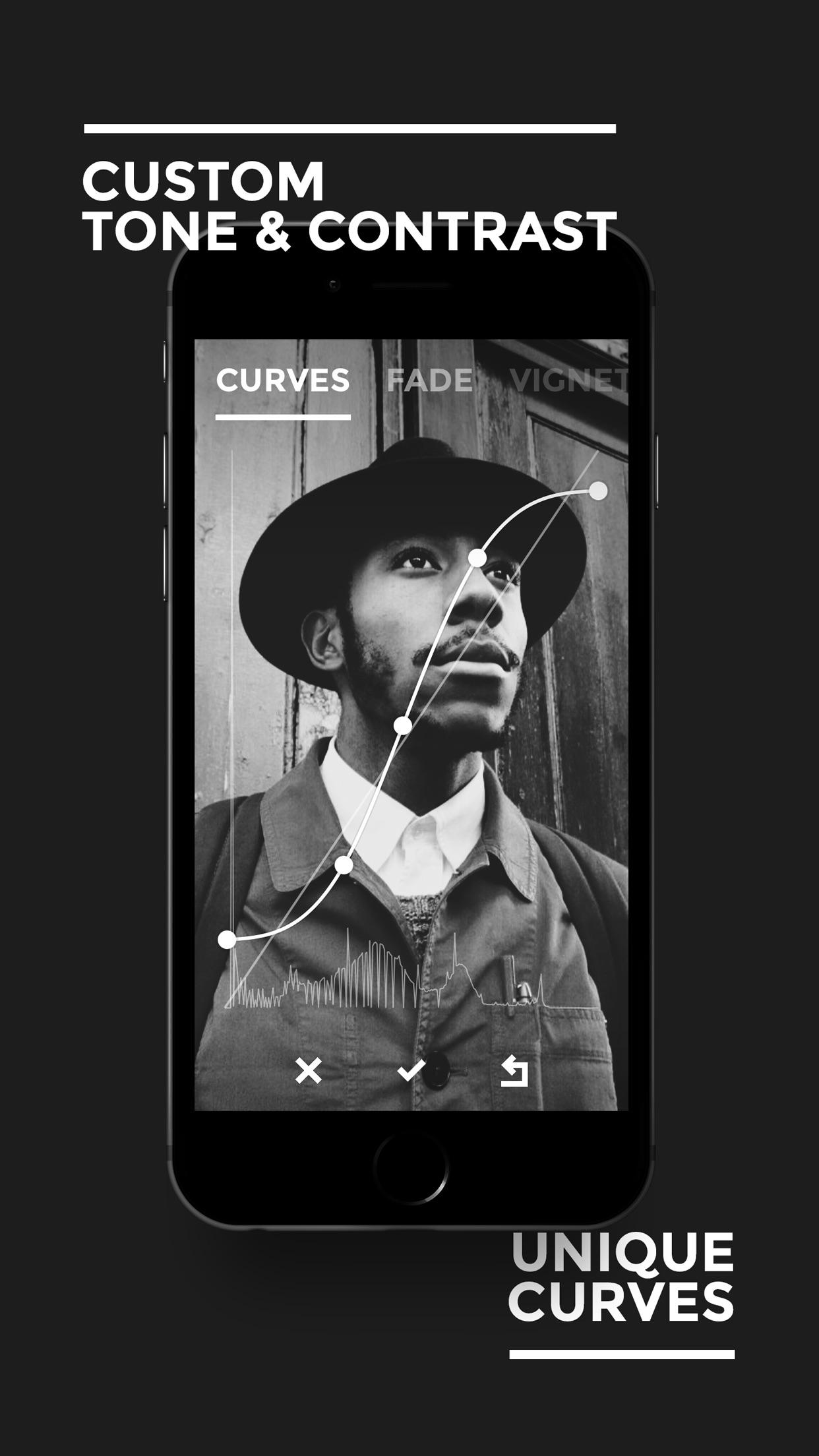 Screenshot do app BLACK - B&W Film Emulator