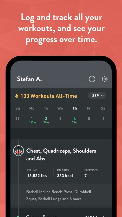 Fitbod Weight Lifting Workout Screenshot