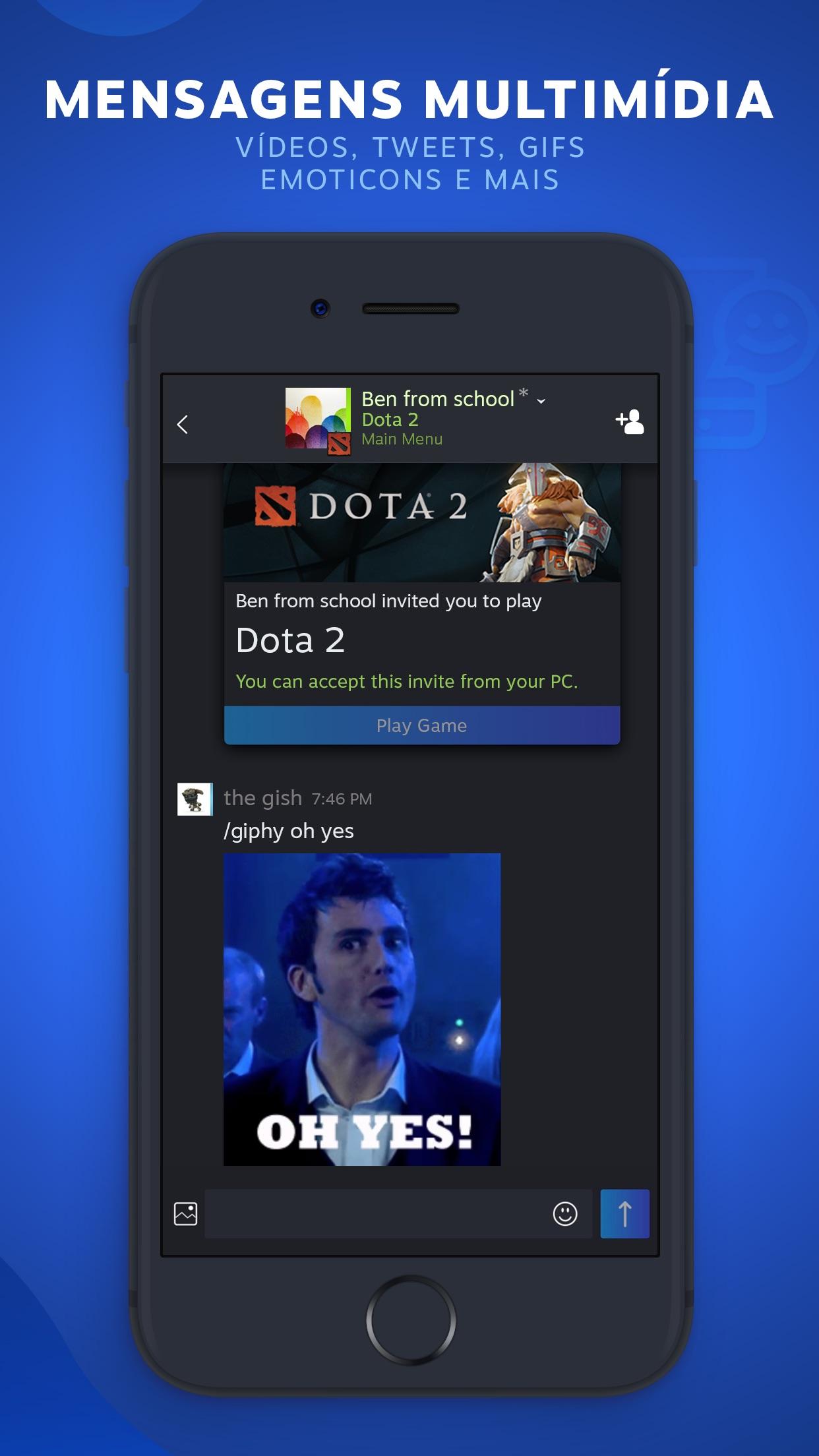 Screenshot do app Steam Chat