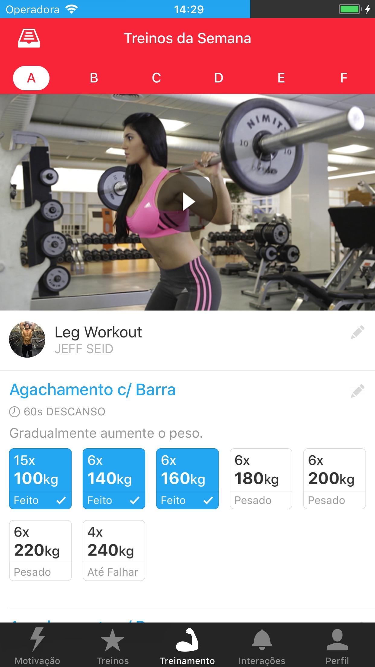 Screenshot do app MyTraining: Treino de Academia