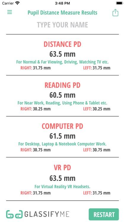 Pupil Distance PD Measure