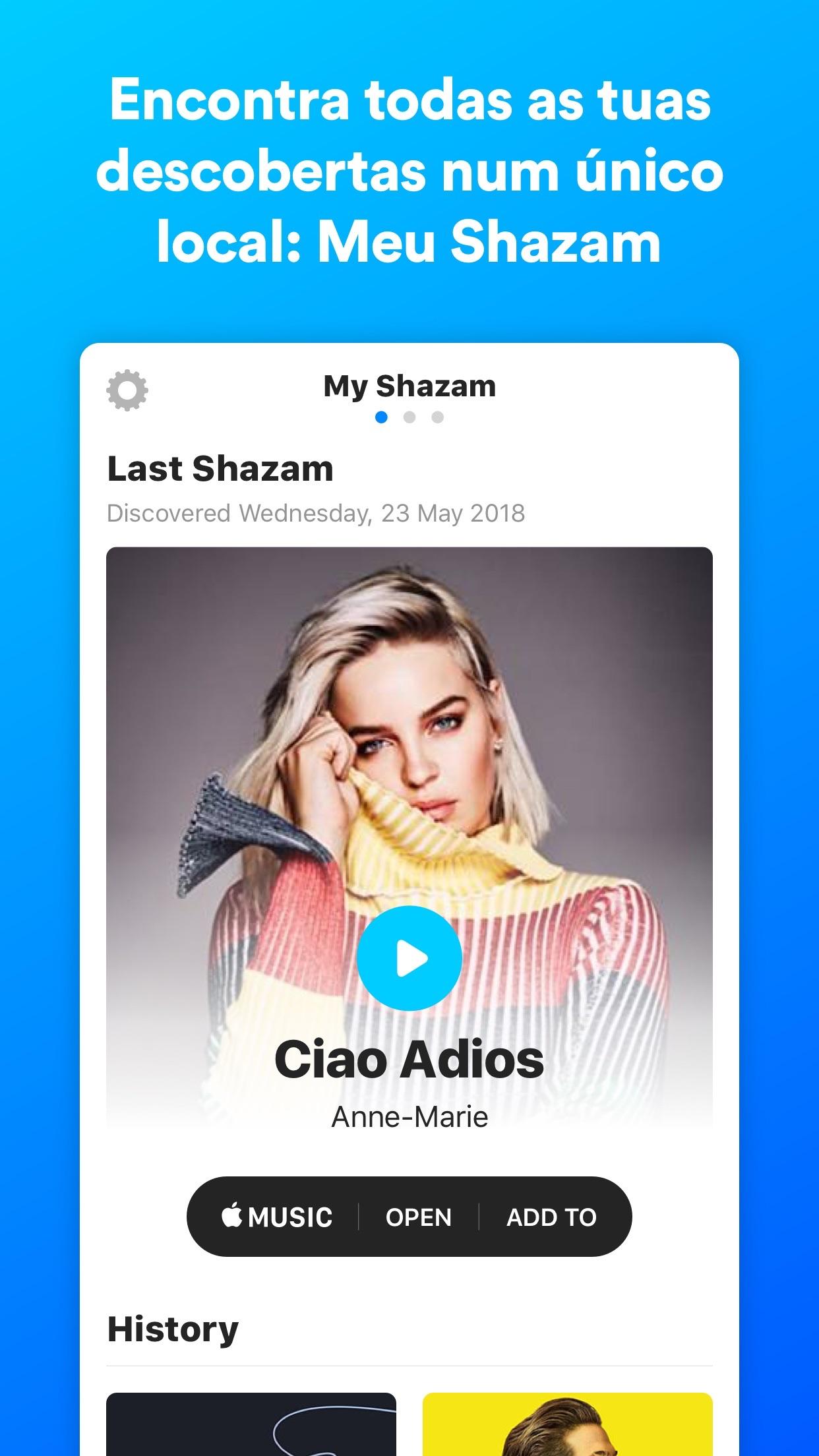 Screenshot do app Shazam