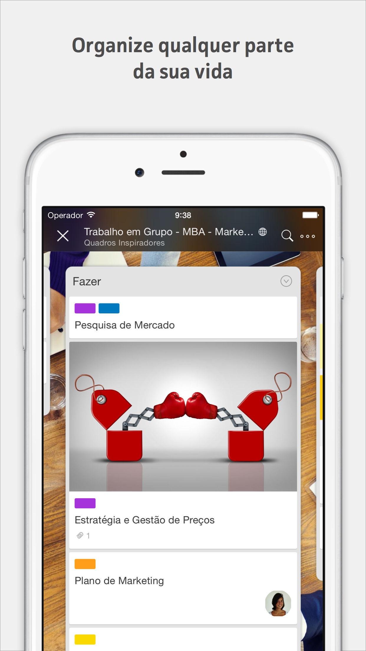 Screenshot do app Trello